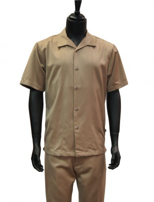 Stacy Adams Solid Tan 2 Piece Short Sleeve Walking Suit
