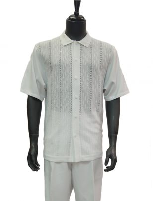 SilverSilk Solid White Textured Crocheted 2 Piece Short Sleeve Walking Suit