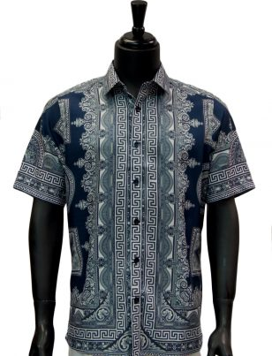 Mens Gold Navy Blue Greek Roman Design Short Sleeve Button Up Shirt