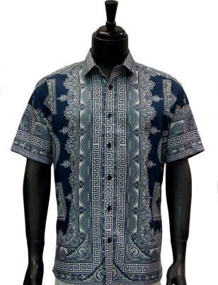 Mens Gold Navy Blue Greek Roman Design Short Sleeve Button Up Shirt