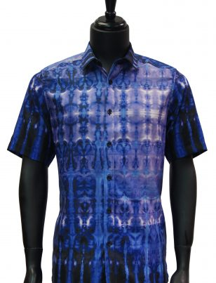 Prestige Mens Blue Multicolor Tie Dye Button Up Short Sleeve Trendy Shirt