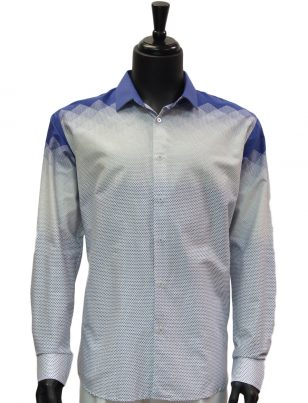Barabas Mens Blue White Geometric Polka Dot Pattern Casual Button Up Shirt