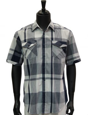 Knock Out Mens Blue White Plaid Short Sleeve Two Pocket Button Up Casual Shirt