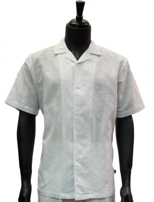 Stacy Adams Mens Solid White Textured Linen Short Sleeve Button Up Casual Summer Shirt
