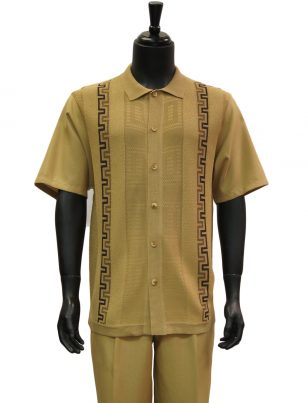 SilverSilk Tan Stripe Pattern Textured 2 Piece Short Sleeve Walking Suit