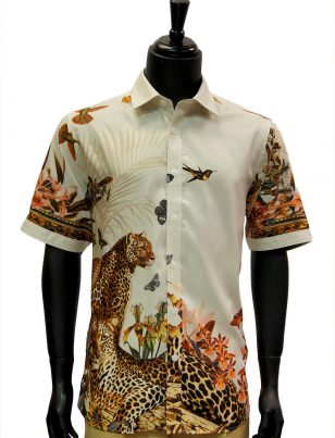 Prestige Mens Multicolor Jungle Design Short Sleeve Fancy Button Up Shirt