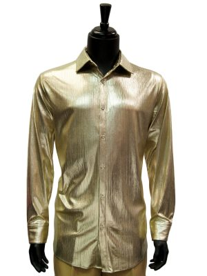 Prestige Mens Gold Liquid Metal Pattern Entertainer Trendy Party Jazzy Shirt