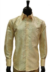 Manzini Men Cream Gold Paisley French Cuff Trendy High Collar Dress Shirt