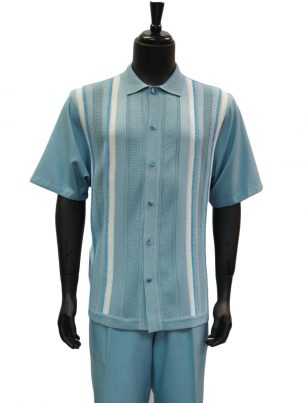 SilverSilk Aqua Blue White Stripe Pattern Textured 2 Piece Short Sleeve Walking Suit