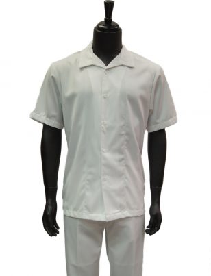 Stacy Adams Solid White 2 Piece Short Sleeve Walking Suit