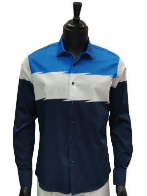 Barabas Mens Navy Blue White Striped 3 Tone Pattern Casual Button Up Shirt
