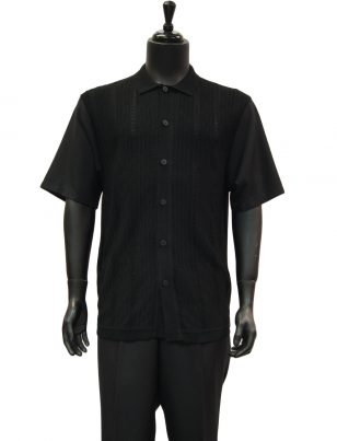 SilverSilk Solid Black Textured Crocheted 2 Piece Short Sleeve Walking Suit