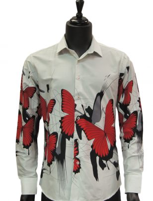 Barabas Mens White Red Butterfly Design Button Up Dress Shirt