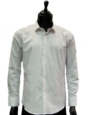 Barabas Mens White Patterned Button Up Dress Casual Shirt