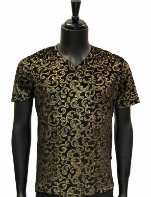 Barabas Mens Gold Black Burnout Velvet Royal Design Trendy Short Sleeve Shirt