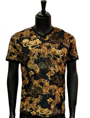 Barabas Mens Gold Black Dragon Design Burnout Velvet Casual Short Sleeve Shirt