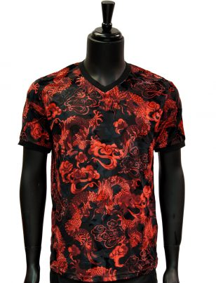 Barabas Mens Red Black Dragon Design Velvet Casual Short Sleeve Shirt