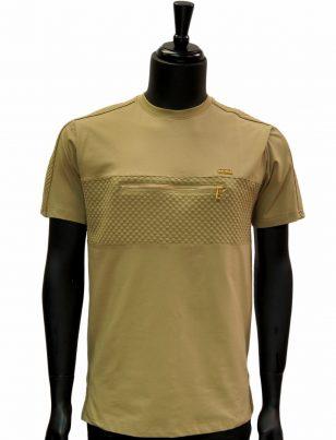 Makobi Mens Khaki Gold Zipper Detail Textured Short Sleeve Cotton T Shirt