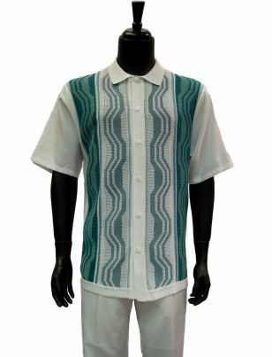 Stacy Adams White Teal Stripe Retro Pattern Short Sleeve 2 Piece Walking Suit
