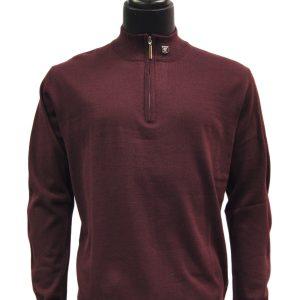 Stacy Adams Plum Lightweight Mens Half Zip Mock Neck Pullover Sweater