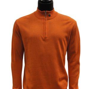 Stacy Adams Orange Lightweight Mens Half Zip Mock Neck Pullover Sweater