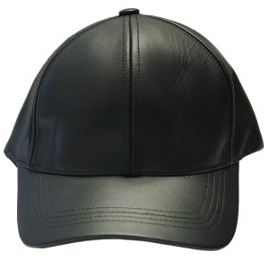Black Genuine Full Leather Adjustable Unisex Casual Baseball Cap