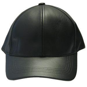 Black Genuine Full Leather Adjustable Unisex Trendy Casual 6 Panel Baseball Style Cap