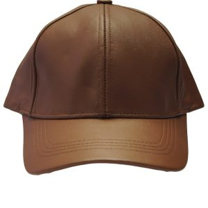 Tan Caramel Genuine Full Leather Adjustable Baseball Unisex Casual Cap