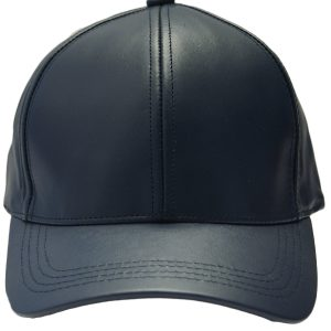 Navy Genuine Full Leather Adjustable Baseball Style Casual Cap