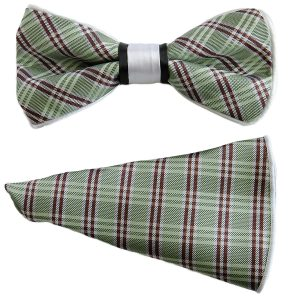 Mens Unisex Green Red Bold Plaid Print Adjustable Silky Knot Fashionable Bow Tie