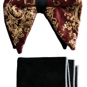 Mens Burgundy Gold Black Abstract Print Adjustable Velvet Feel Knot Fashionable Butterfly Bow Tie