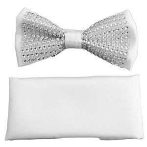 Mens White Crystal Silver Bold Adjustable Silky Knot Fashionable Tredy Bow Tie