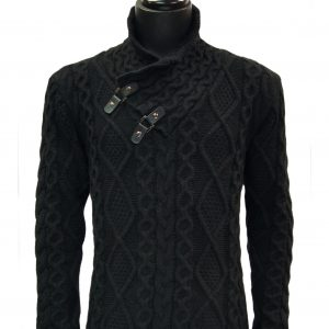 Mens Black Cable Knit Leather Toggle High Collar Stylish Luxury Pullover Sweater