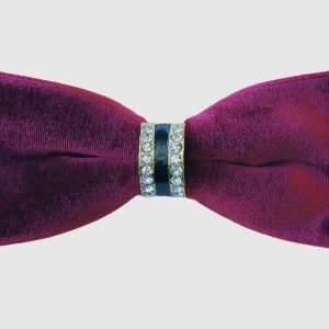 Mens Burgundy Crystal Velvet Feel Bold Adjustable Soft Knot Stunning Dress Formal Bow Tie