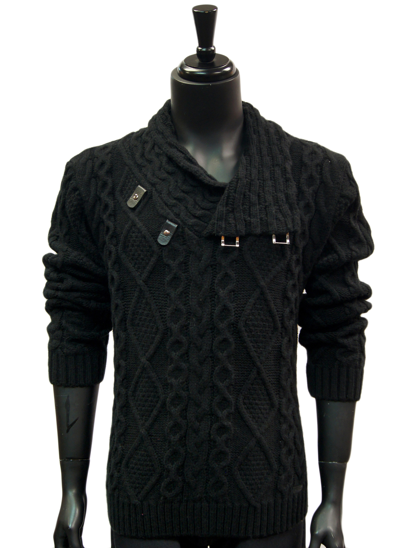 2f74fc3ee55f Mens Black Cable Knit Leather Toggle High Collar Stylish Luxury Pullover  Sweater. 100% Satisfaction ...