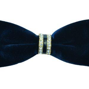 Black Crystal Bold Velvet Feel Adjustable Soft Knot Fashionable Dress Formal Trendy Bow Tie