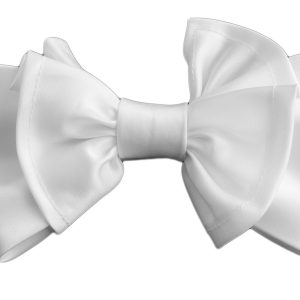 Mens Unisex White Pre Tied Adjustable Silky Big Knot Formal Dress Fun Bow Tie