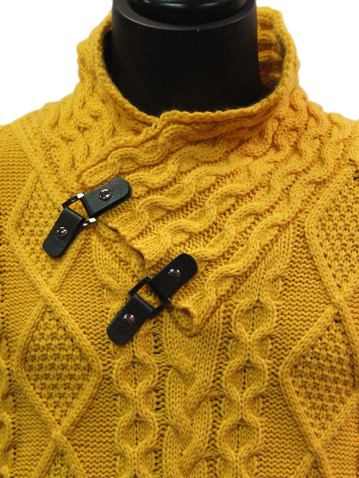 358f5d36bd56 Mens Mustard Gold Cable Knit Leather Toggle High Collar Bulky Pullover  Sweater. 100% Satisfaction ...