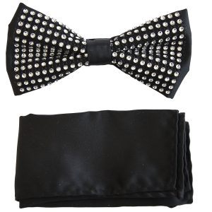 Mens Black Silver Crystal Formal Adjustable Silk Feel Fashionable Trendy Bow Tie