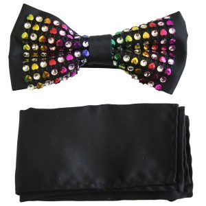 Multi Colored Crystal Sequin Adjustable Silky Feel Knot Fashionable Trendy Dress Fun Bow Tie