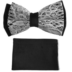 Mens White Black Lace Adjustable Silky Feel Knot Fashionable Wedding Formal Trendy Bow Tie