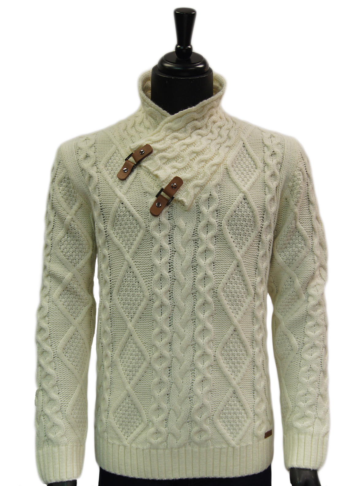 b509985fe0f9 Mens Cream Leather Toggle Button High Collar Cable Knit Bulky Pullover  Sweater. 100% Satisfaction ...